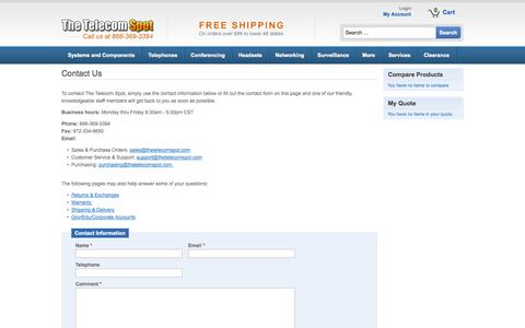Screenshot of Contact Page thetelecomspot.com - Contact Us - captured Sept. 22, 2014