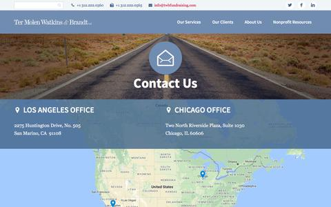Screenshot of Contact Page twbfundraising.com - Contact Us - Ter Molen Watkins & Brandt - captured Oct. 21, 2017