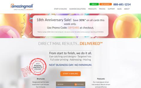 Screenshot of Home Page amazingmail.com - Direct Mail Marketing | Web to Print Solutions | Personalized | Christmas Cards | and More! - captured Sept. 28, 2016