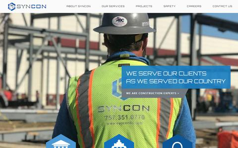 Screenshot of Home Page synconllc.com - Syncon LLC | Chesapeake, VA - captured Oct. 1, 2018