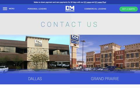 Screenshot of Contact Page dmautoleasing.com - Contact Us | Dallas, Grand Prairie, Houston & Fort Worth | D&M Leasing - captured Sept. 30, 2018