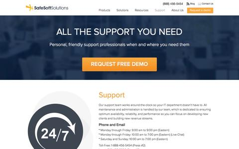 Screenshot of Support Page safesoftsolutions.com - Support | SafeSoft Solutions Cloud Based Call Center - captured Sept. 19, 2014