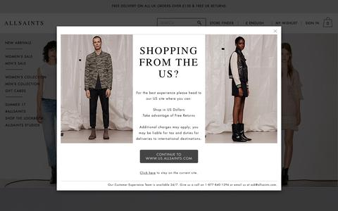 Screenshot of Home Page allsaints.com - ALLSAINTS UK: Iconic Leather Jackets, Clothing & Accessories - captured Aug. 9, 2017