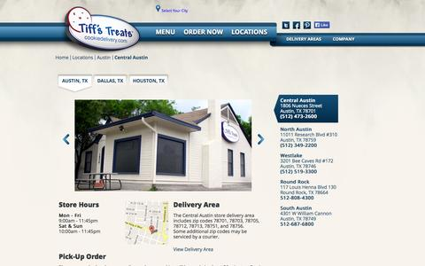 Screenshot of Locations Page cookiedelivery.com - Tiff's Treats - captured Sept. 12, 2014