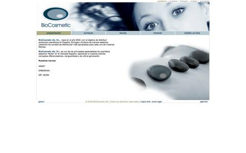 Screenshot of Home Page biocosmeticdis.com - Biocosmetic, especialista en cosmética orgánica Niche. - captured Oct. 5, 2014