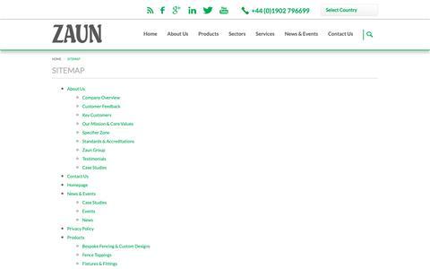 Screenshot of Site Map Page zaun.co.uk - Sitemap   Zaun Ltd - captured Oct. 18, 2018