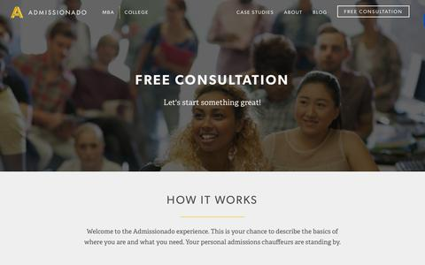 Screenshot of Signup Page admissionado.com - Free Consultation | Admissionado - captured Jan. 30, 2016