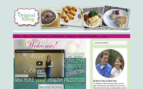 Screenshot of Home Page originaleating.com - Original Eating - Curative Nutrition the Paleo Way! - captured Sept. 2, 2015