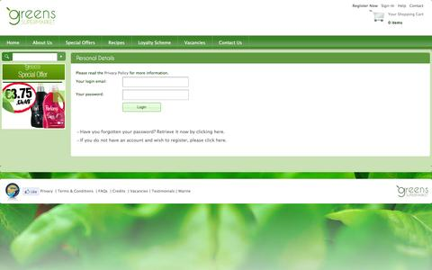 Screenshot of Login Page greens.com.mt - Greens Supermarket - My Account - captured Feb. 2, 2016