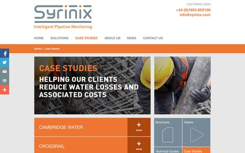 Screenshot of Case Studies Page syrinix.com - Intelligent pipeline monitoring solutions case studies - Syrinix - captured Sept. 17, 2014