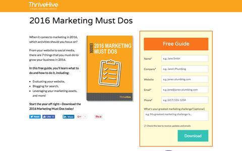 Screenshot of Landing Page thrivehive.com - 2016 Marketing Must Dos   ThriveHive - captured Aug. 19, 2016