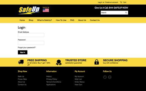 Screenshot of Login Page safeup.us - Account – SafeUp - captured Nov. 3, 2014