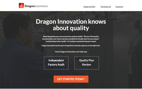 Screenshot of Landing Page dragoninnovation.com captured Aug. 20, 2016
