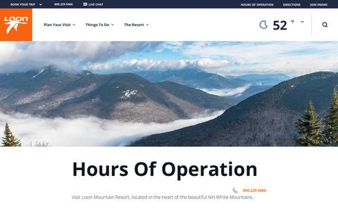 Screenshot of Hours Page loonmtn.com - Hours of Operation | Loon Mountain - captured Sept. 29, 2018