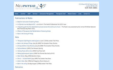 Screenshot of Case Studies Page neuphysio.com - Neuphysio Rehabilitation  » Publications & Media - captured Oct. 8, 2014