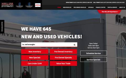 Screenshot of Home Page hellermotors.com - Heller Motors | Chrysler Jeep Dodge Ram Sales in Pontiac, IL - captured July 18, 2018
