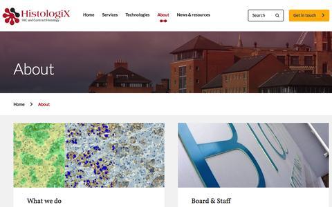 Screenshot of About Page histologix.co.uk - The UK's leading independent IHC Laboratory: Biocity, Nottingham - Histologix - captured Nov. 2, 2014