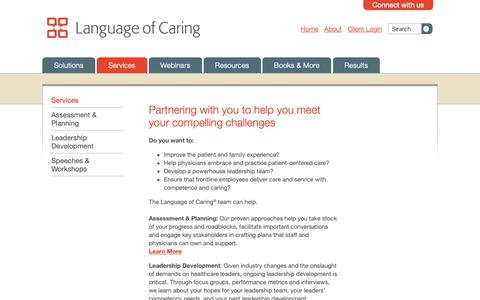 Screenshot of Services Page languageofcaring.com - Services | Language of Caring - captured Sept. 27, 2018