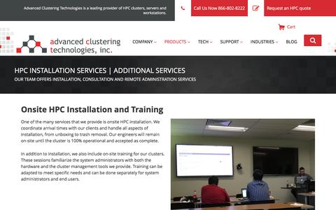 Screenshot of Services Page advancedclustering.com - Additional Services - Advanced Clustering Technologies - captured Feb. 22, 2017