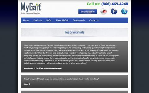 Screenshot of Testimonials Page mygait.com - Testimonials - captured Sept. 30, 2014