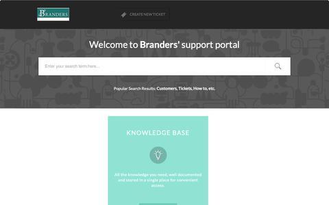 Screenshot of Support Page branders.com - Support : Branders - captured July 10, 2017