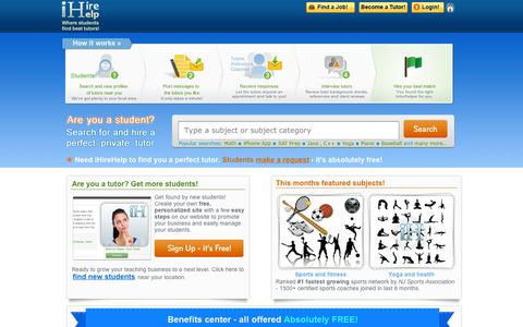 Screenshot of Home Page ihirehelp.com - Find and hire a private tutor or learning center| iHireHelp Tutoring - captured Sept. 10, 2014
