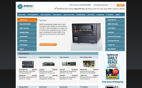 Screenshot of Home Page msrcglobal.com - Hard Drives | Storage Media | Tape Library Parts | Tape Drives | Tape Libraries | Tape Autoloaders | HP StorageWorks - captured Sept. 12, 2015