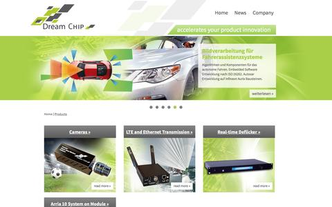 Screenshot of Products Page dreamchip.de - Products - Dream Chip Technologies - captured Nov. 24, 2016