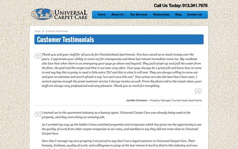 Screenshot of Testimonials Page universalcarpetus.com - Customer Testimonials | Universal Carpet Care - captured Oct. 26, 2014