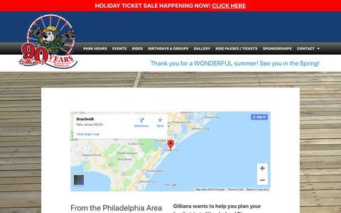 Screenshot of Maps & Directions Page gillians.com - Directions - Gillians Wonderland Pier - captured Nov. 10, 2018