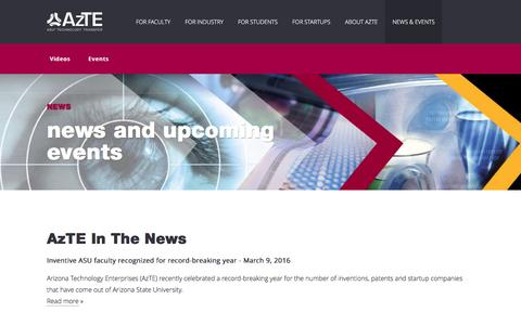 Screenshot of Press Page azte.com - News & Events | Technology Enterprises (AzTE) - captured Nov. 21, 2016