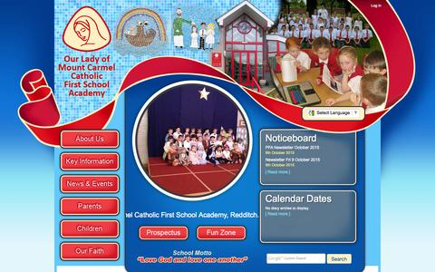 Screenshot of Home Page mountcarmelfirstschool.co.uk - Home | Our Lady of Mount Carmel Catholic First School - captured Oct. 10, 2015