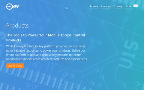 Screenshot of Products Page unikey.com - Mobile Access Control Products, Platform, Smart Locks, and Readers - captured Sept. 29, 2018