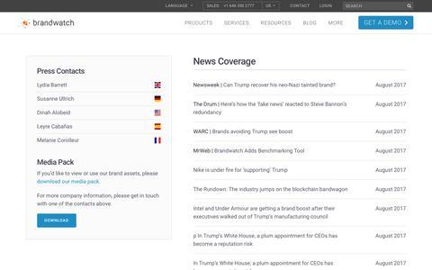 Screenshot of Press Page brandwatch.com - News Coverage   4/159   Brandwatch - captured Oct. 20, 2017