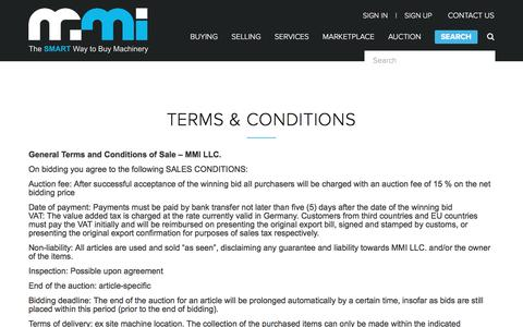 Screenshot of Terms Page mmi-direct.com - Terms and Conditions | Auction Machine Tools | MMI-Direct.com - captured Sept. 28, 2017