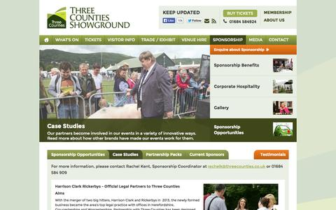 Screenshot of Case Studies Page threecounties.co.uk - Case Studies - Three Counties Showground - captured Oct. 9, 2014