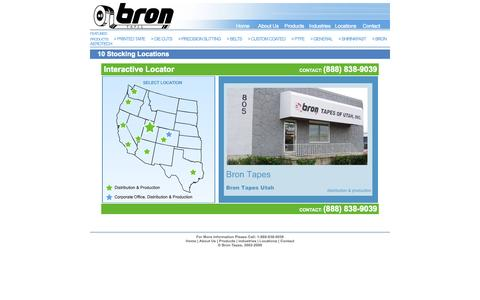 Screenshot of Locations Page brontapes.com - Bron Tapes - captured Sept. 30, 2014
