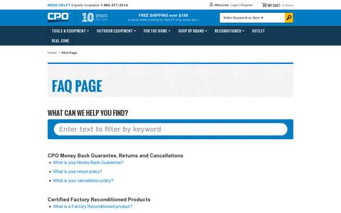 Screenshot of FAQ Page cpooutlets.com - FAQ Page - captured July 19, 2014