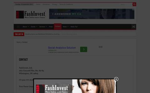 Screenshot of Contact Page fashinvest.com - Contact - FashInvest - captured Sept. 23, 2014