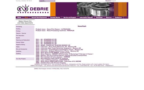 Screenshot of Press Page debrie.fr - Welcome to CTM Debrie  - News - captured Oct. 5, 2014