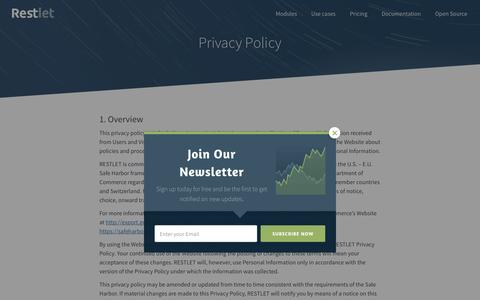Screenshot of Privacy Page restlet.com - Restlet Privacy Policy - captured May 9, 2017