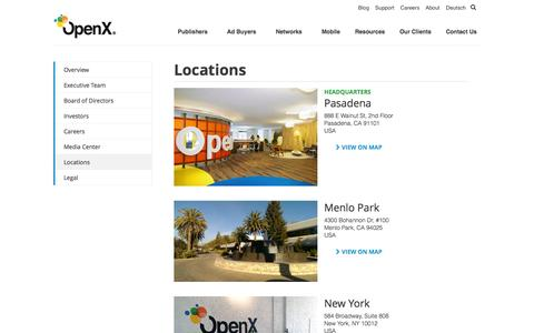 Screenshot of Locations Page openx.com - Locations | OpenX - captured Oct. 10, 2014
