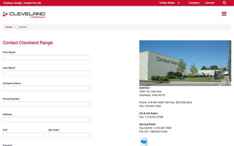 Screenshot of Contact Page clevelandrange.com - Cleveland Range - Contact - captured Nov. 4, 2018