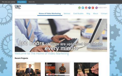Screenshot of Home Page clockworkeye.co.uk - Welcome to The Home of Video Marketing - Clockwork Eye - captured Jan. 29, 2016