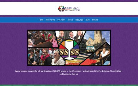 Screenshot of Home Page mlp.org - More Light Presbyterians – Working for the Full Participation of LGBTQ people in the Presbyterian Church (USA) and In Society. - captured Nov. 29, 2016
