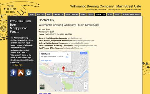 Screenshot of Contact Page willibrew.com - Willimantic Brewing Co. & Main Street Cafe | Contact Us - captured Oct. 27, 2017