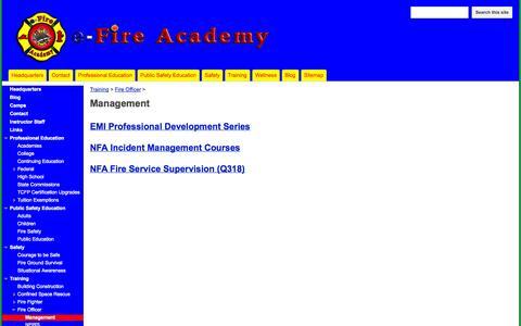 Screenshot of Team Page efireacademy.com - Management - e-Fire Academy - captured Sept. 30, 2014