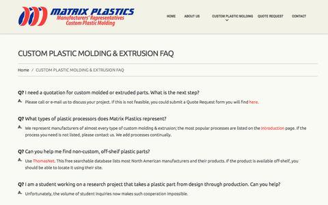 Screenshot of FAQ Page matrixplastics.com - Matrix Plastics - Plastic Molding and Extrusion Sales Agencies and Manufacturers Reps | Matrix Plastics - captured June 10, 2017