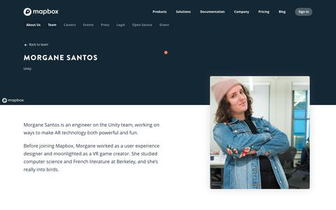 Screenshot of Team Page mapbox.com - Morgane Santos   Mapbox - captured Feb. 19, 2019