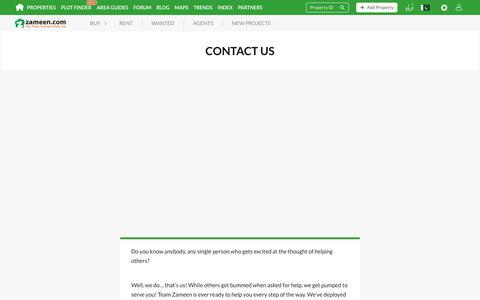 Screenshot of Contact Page zameen.com - Contact Zameen.com - Pakistan Property Portal - captured Feb. 19, 2020